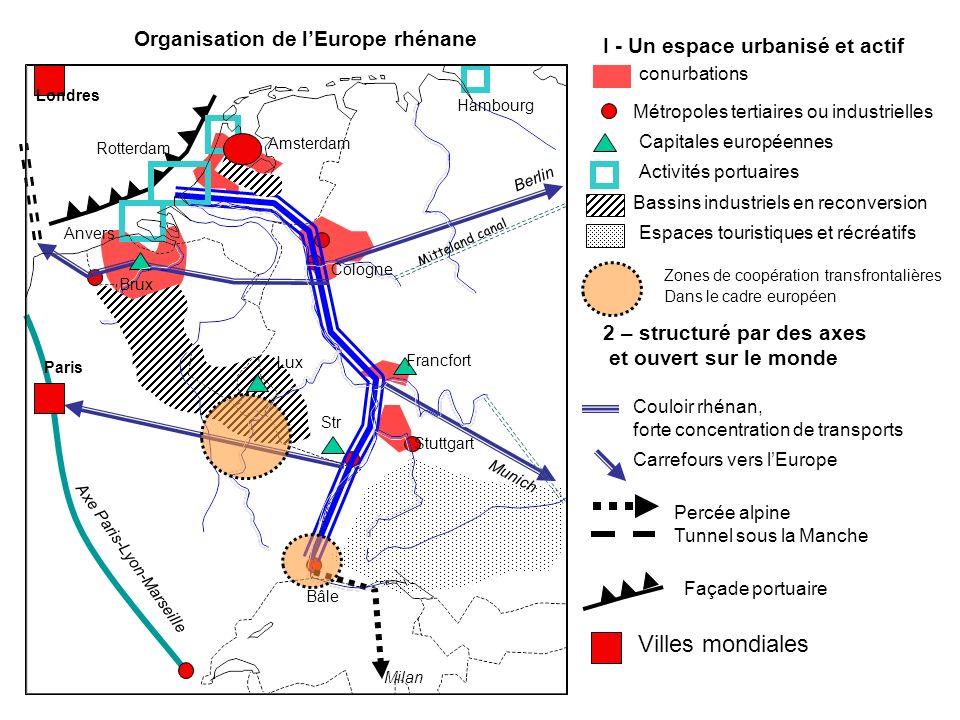 Organisation de lEurope rhénane I - Un espace urbanisé et actif conurbations Métropoles tertiaires ou industrielles Capitales européennes Activités po