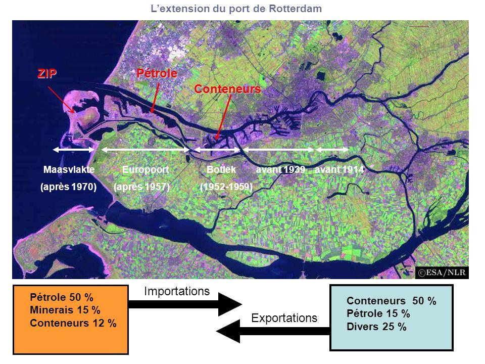 Lextension du port de Rotterdam Maasvlakte Europoort Botlek avant 1939 avant 1914 (après 1970) (après 1957) (1952-1959) ZIPPétrole Conteneurs Importations Exportations Conteneurs 50 % Pétrole 15 % Divers 25 % Pétrole 50 % Minerais 15 % Conteneurs 12 %