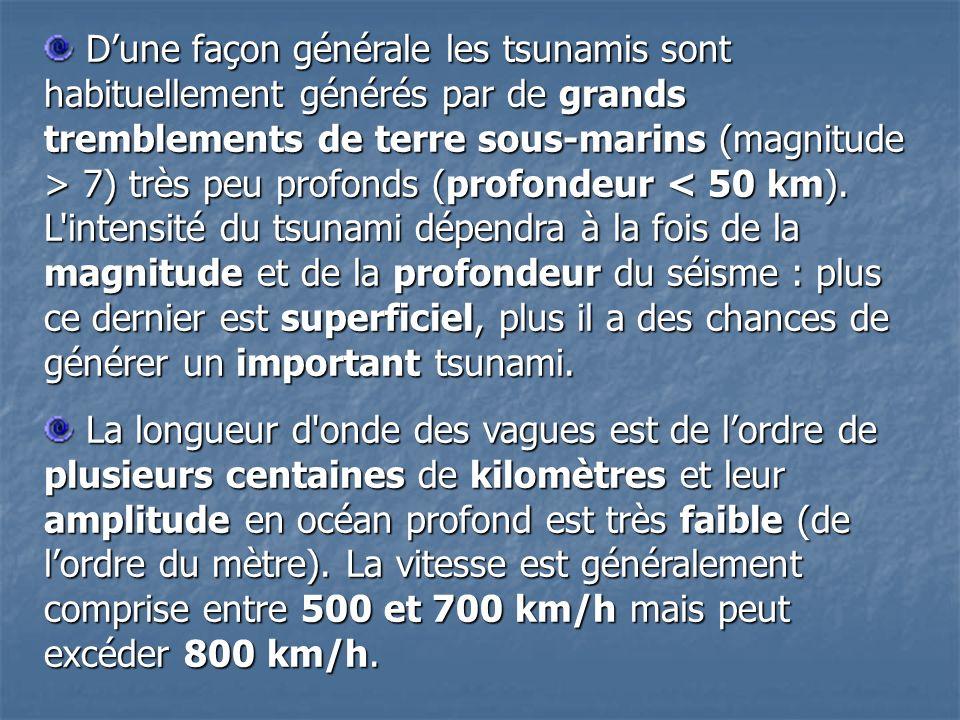 Dune façon générale les tsunamis sont habituellement générés par de grands tremblements de terre sous-marins (magnitude > 7) très peu profonds (profondeur 7) très peu profonds (profondeur < 50 km).