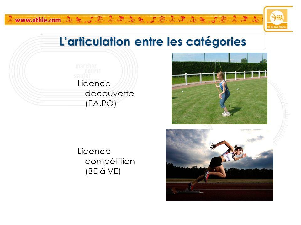 Larticulation entre les catégories Licence découverte (EA,PO) Licence compétition (BE à VE)