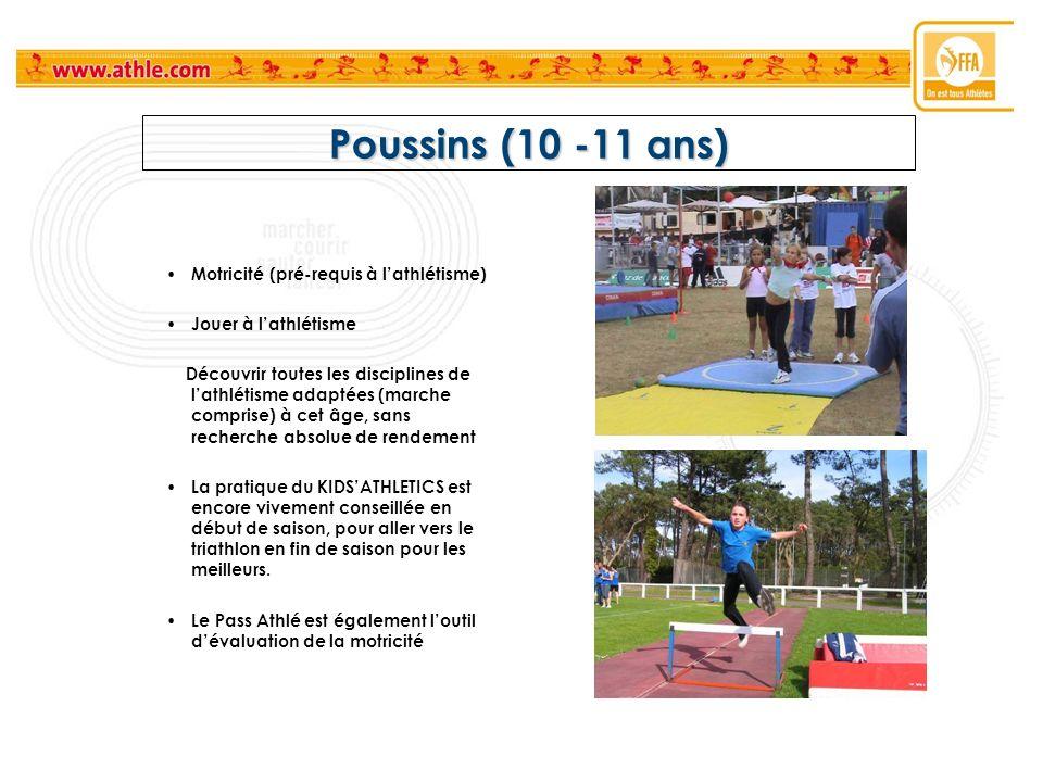 Poussins (10 -11 ans) Motricité (pré-requis à lathlétisme) Jouer à lathlétisme Découvrir toutes les disciplines de lathlétisme adaptées (marche compri