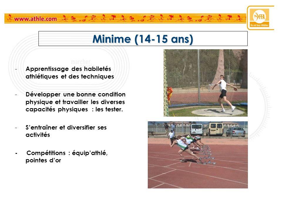 Minime (14-15 ans) - Apprentissage des habiletés athlétiques et des techniques - Développer une bonne condition physique et travailler les diverses ca