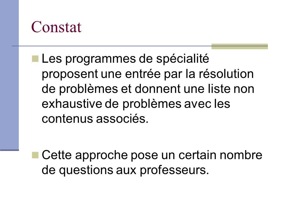 Constat Les programmes de spécialité proposent une entrée par la résolution de problèmes et donnent une liste non exhaustive de problèmes avec les contenus associés.