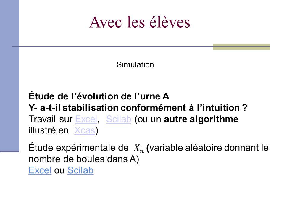 Avec les élèves Étude de lévolution de lurne A Y- a-t-il stabilisation conformément à lintuition .