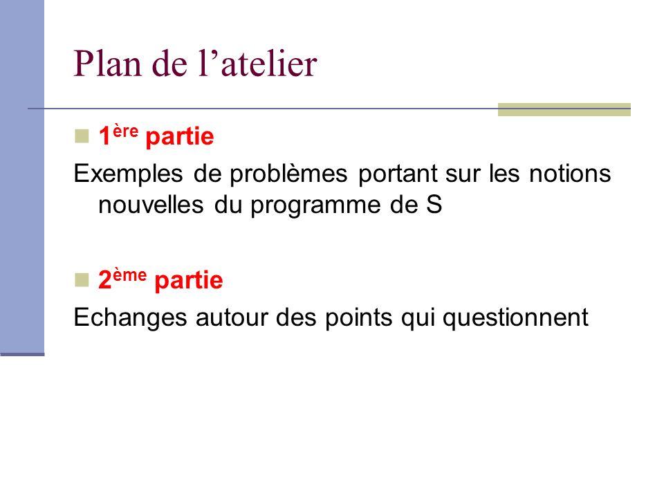 Plan de latelier 1 ère partie Exemples de problèmes portant sur les notions nouvelles du programme de S 2 ème partie Echanges autour des points qui questionnent