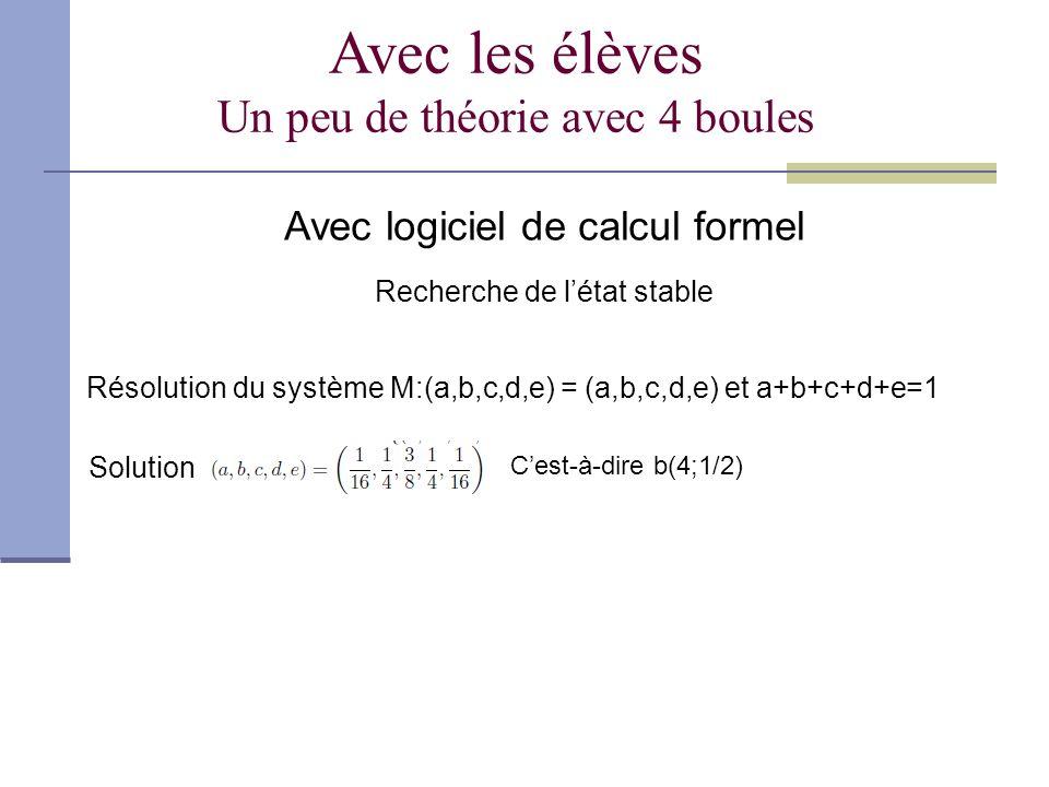 Avec les élèves Un peu de théorie avec 4 boules Avec logiciel de calcul formel Recherche de létat stable Résolution du système M:(a,b,c,d,e) = (a,b,c,d,e) et a+b+c+d+e=1 Solution Cest-à-dire b(4;1/2)