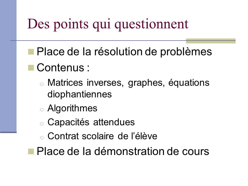 Des points qui questionnent Place de la résolution de problèmes Contenus : o Matrices inverses, graphes, équations diophantiennes o Algorithmes o Capacités attendues o Contrat scolaire de lélève Place de la démonstration de cours