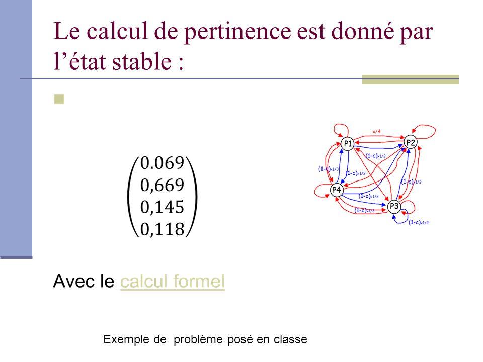 Le calcul de pertinence est donné par létat stable : Exemple de problème posé en classe