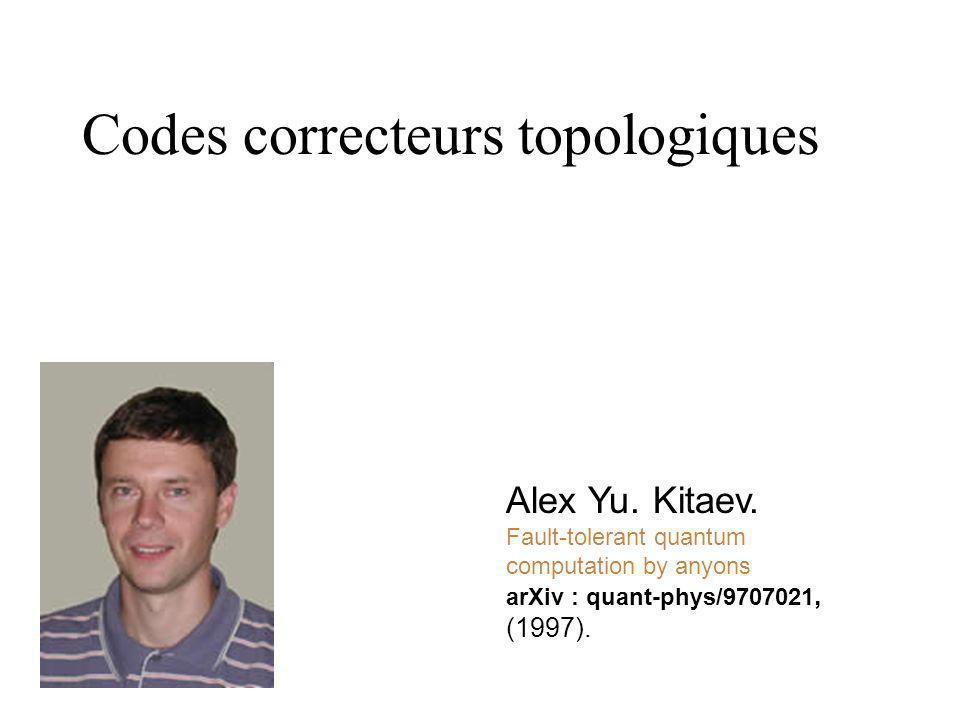 Codes correcteurs derreur A. R. Calderbank & B. P. W. Shor. Good quantum error-correcting codes exist Phys. Rev. A, 54, 1086, (1996). A. M. Steane Err