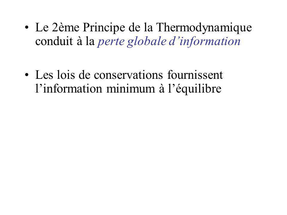 Le 2ème Principe de la Thermodynamique conduit à la perte globale dinformation