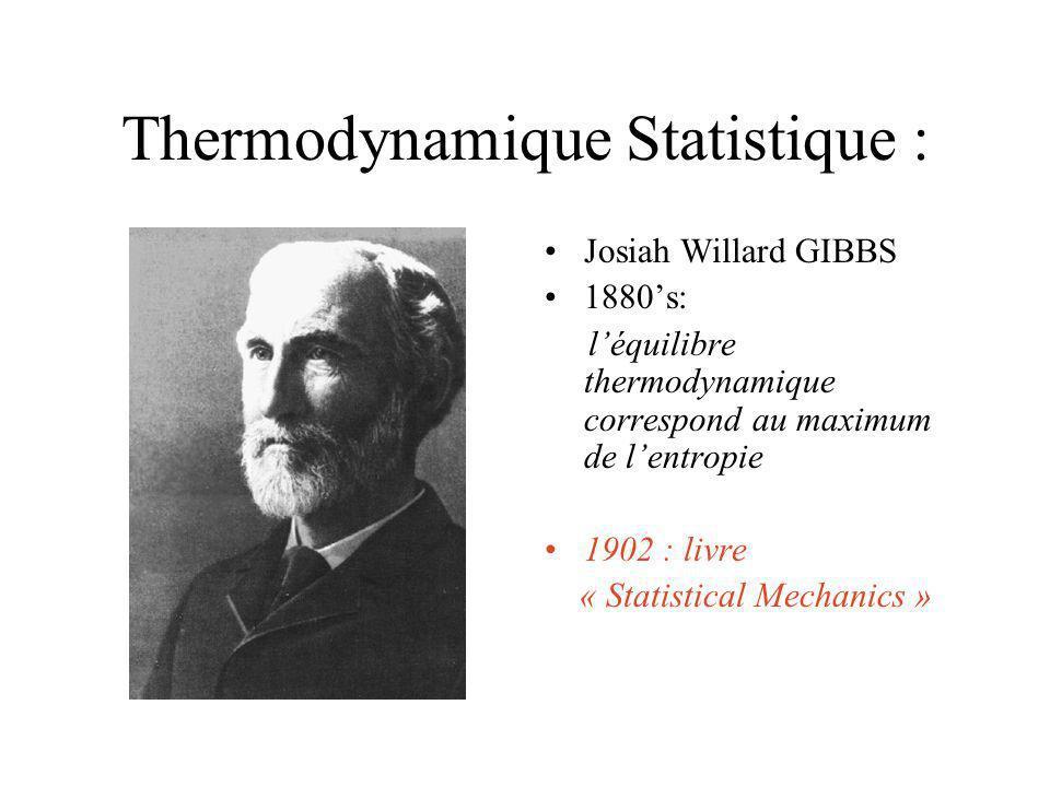 Thermodynamique Statistique : Ludwig BOLTZMAN 1872: -Théorie cinétique 1880: Interprétation statistique de lentropie: mesure du désordre dans lespace