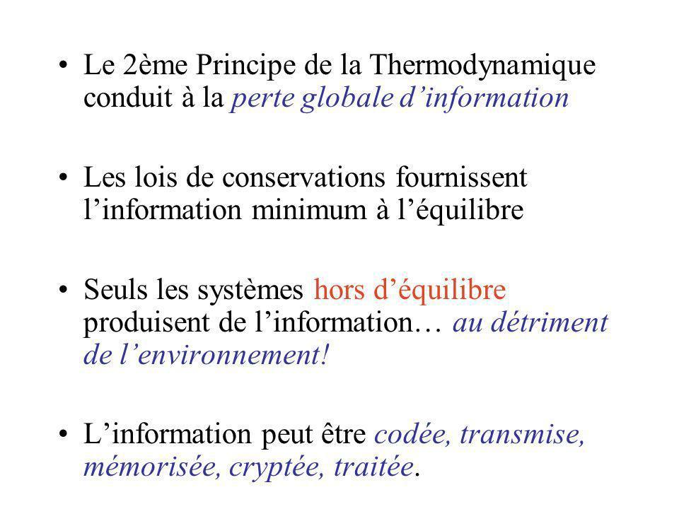 Le 2ème Principe de la Thermodynamique conduit à la perte globale dinformation Les lois de conservations fournissent linformation minimum à léquilibre