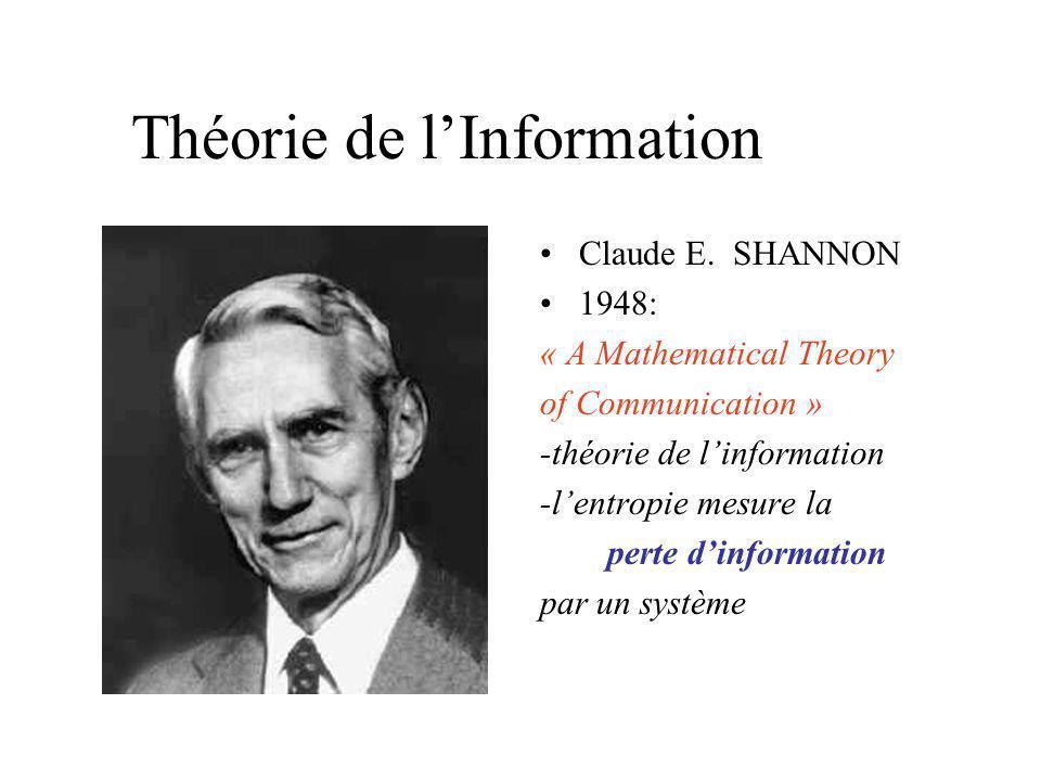 Josiah Willard GIBBS 1880s: léquilibre thermodynamique correspond au maximum de lentropie 1902 : livre « Statistical Mechanics » Thermodynamique Stati