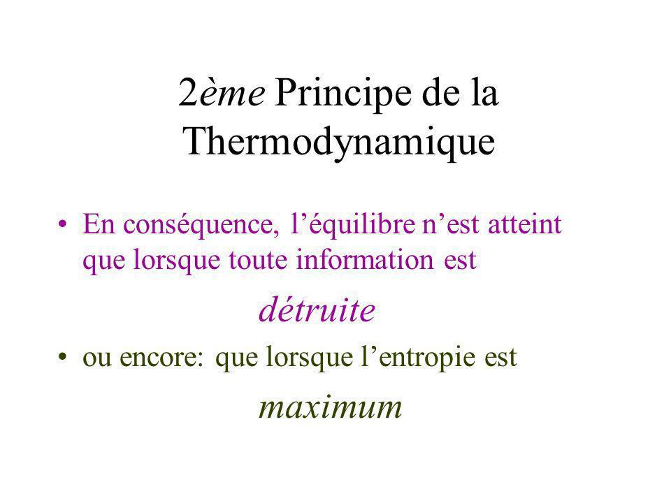 2ème Principe de la Thermodynamique Au cours du temps, linformation contenue dans un système isolé ne peut quêtre détruite ou encore: lentropie ne peu