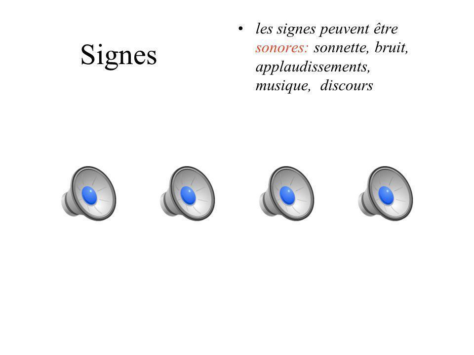 Signes Les signes peuvent être visuels: couleur, forme, dessin