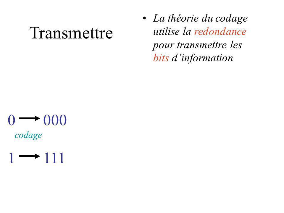 Transmettre La théorie du codage utilise la redondance pour transmettre les bits dinformation 0 codage 1