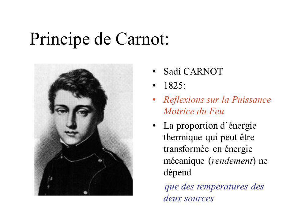 Principe de Carnot: Sadi CARNOT 1825: Reflexions sur la Puissance Motrice du Feu La proportion dénergie thermique qui peut être transformée en énergie mécanique (rendement) ne dépend que des températures des deux sources