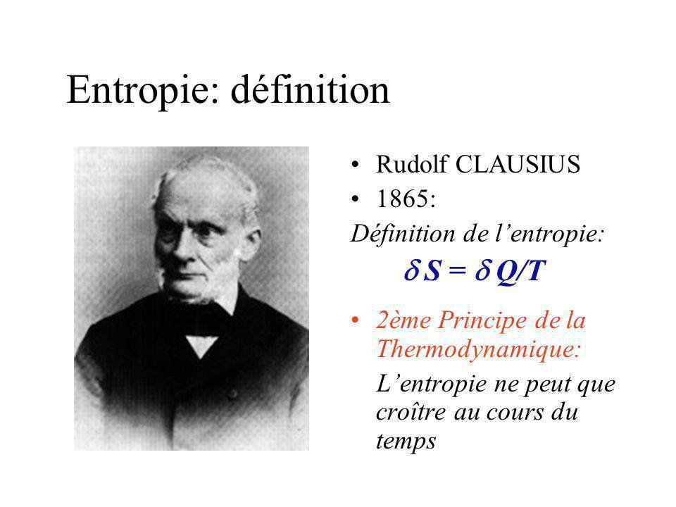 Entropie: définition Rudolf CLAUSIUS 1865: Définition de lentropie: S = Q/T 2ème Principe de la Thermodynamique: Lentropie ne peut que croître au cours du temps