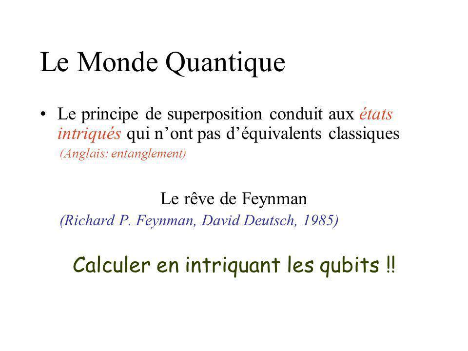 Le Monde Quantique Le codage de linformation quantique utilise les espaces de Hilbert (objets bien compliqués) Lunité dinformation quantique est le qu