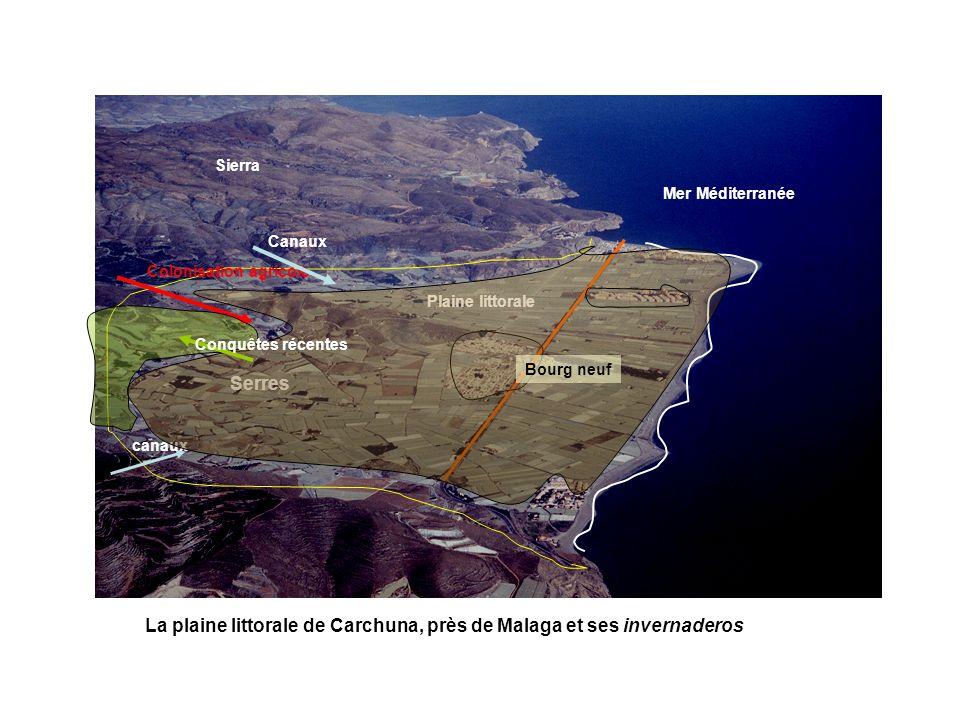 Sierra Plaine littorale Mer Méditerranée Serres Colonisation agricole canaux Canaux Conquêtes récentes Bourg neuf La plaine littorale de Carchuna, prè