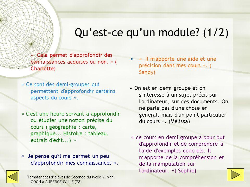 Quest-ce quun module? (1/2) « Cela permet d'approfondir des connaissances acquises ou non. » ( Charlotte) « Ce sont des demi-groupes qui permettent d'