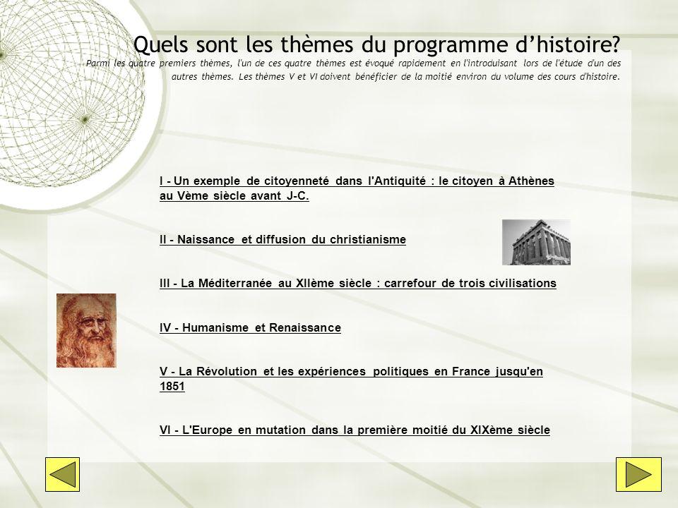 Quels sont les thèmes du programme dhistoire? Parmi les quatre premiers thèmes, l'un de ces quatre thèmes est évoqué rapidement en l'introduisant lors