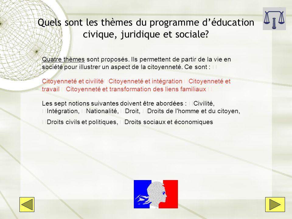 Quels sont les thèmes du programme déducation civique, juridique et sociale? Quatre thèmes sont proposés. Ils permettent de partir de la vie en sociét