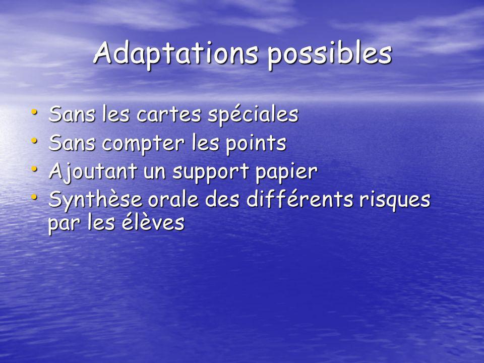 Adaptations possibles Sans les cartes spéciales Sans les cartes spéciales Sans compter les points Sans compter les points Ajoutant un support papier A
