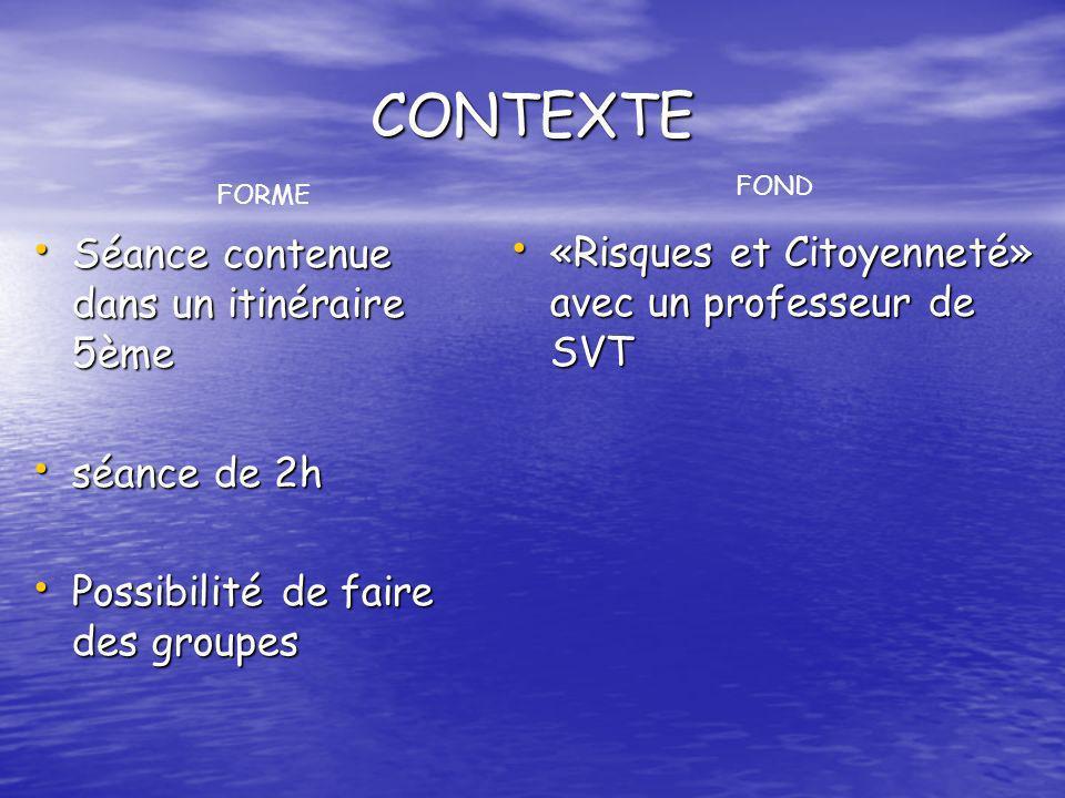 CONTEXTE Séance contenue dans un itinéraire 5ème Séance contenue dans un itinéraire 5ème séance de 2h séance de 2h Possibilité de faire des groupes Po
