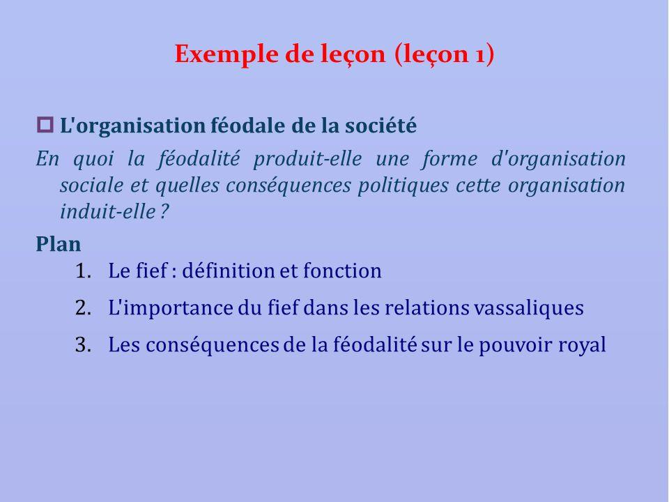 Exemple de leçon (leçon 1) L'organisation féodale de la société En quoi la féodalité produit-elle une forme d'organisation sociale et quelles conséque