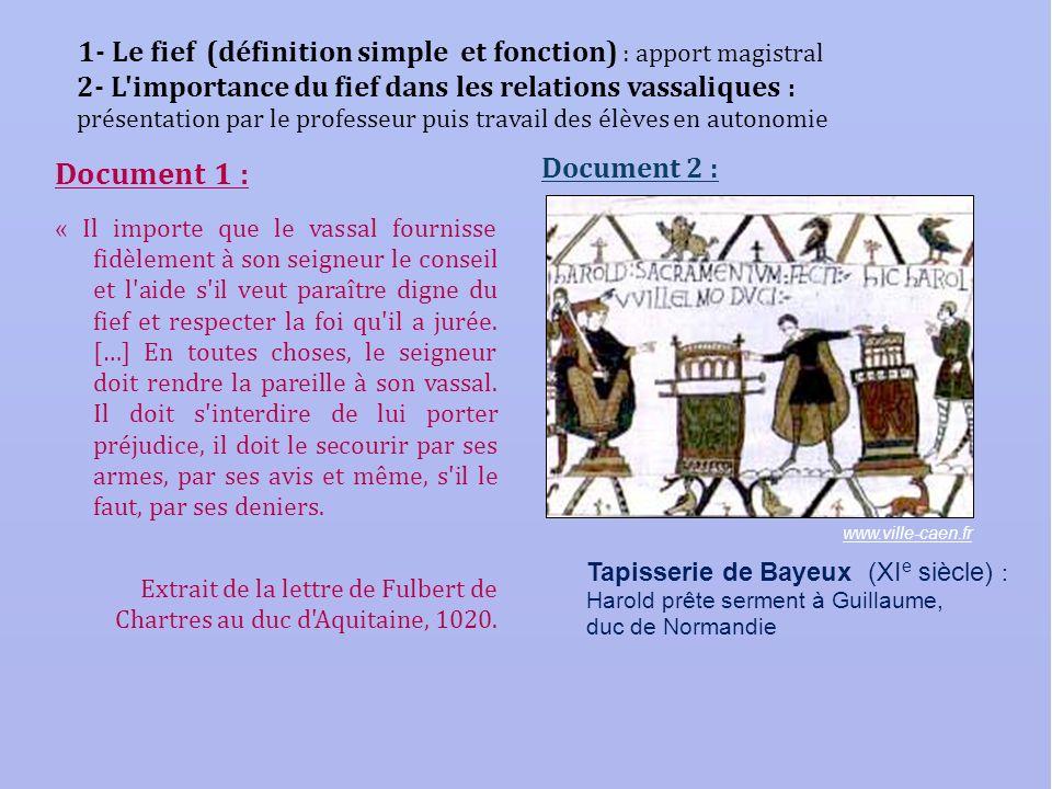 1- Le fief (définition simple et fonction) : apport magistral 2- L'importance du fief dans les relations vassaliques : présentation par le professeur