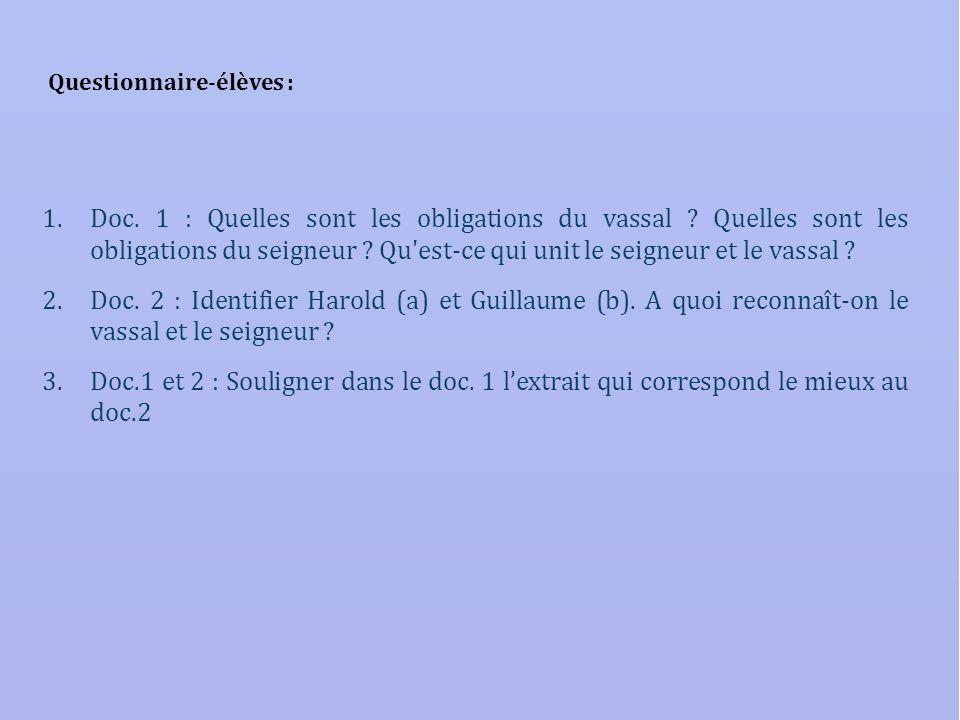 Questionnaire-élèves : 1.Doc. 1 : Quelles sont les obligations du vassal ? Quelles sont les obligations du seigneur ? Qu'est-ce qui unit le seigneur e