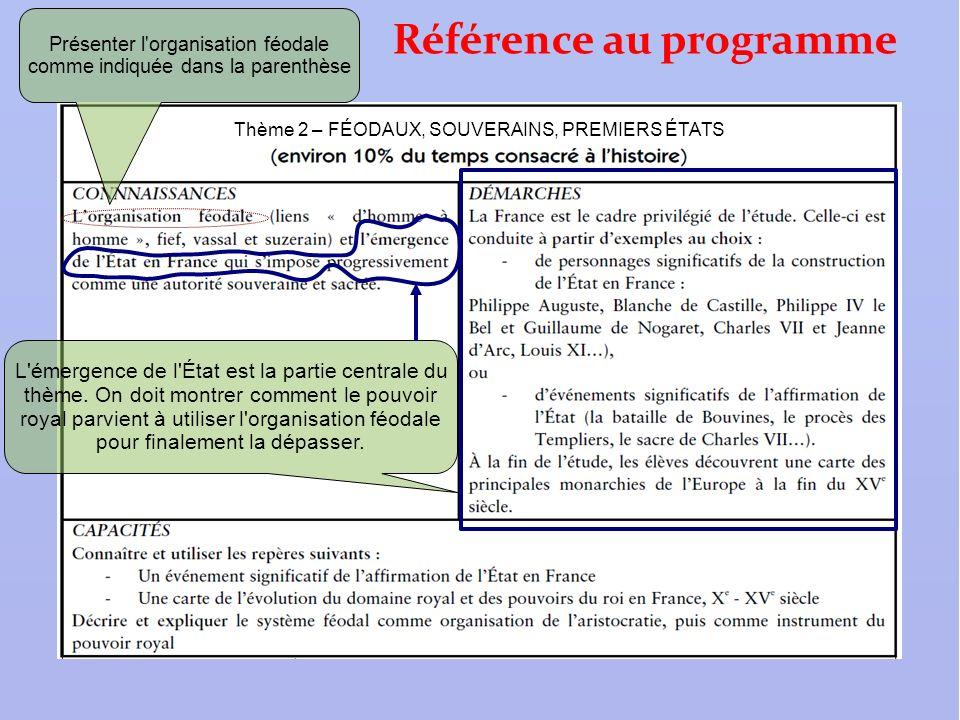 Référence au programme Thème 2 – FÉODAUX, SOUVERAINS, PREMIERS ÉTATS Présenter l'organisation féodale comme indiquée dans la parenthèse L'émergence de