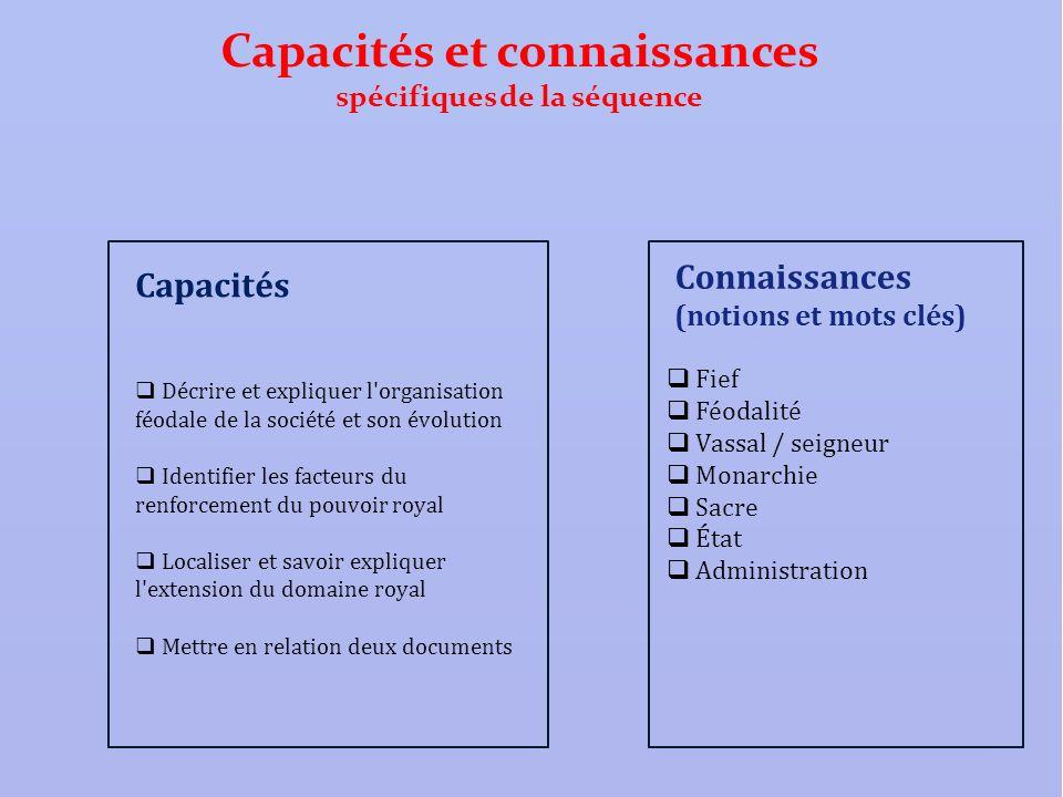 Capacités et connaissances spécifiques de la séquence Connaissances (notions et mots clés) Fief Féodalité Vassal / seigneur Monarchie Sacre État Admin
