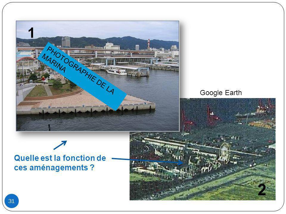 Quelle est la fonction de ces aménagements ? 1 2 31 PHOTOGRAPHIE DE LA MARINA Google Earth