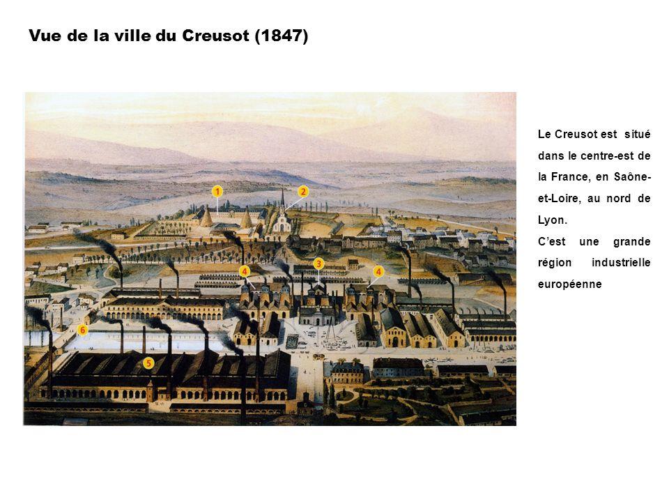 Vue de la ville du Creusot (1847) Le Creusot est situé dans le centre-est de la France, en Saône- et-Loire, au nord de Lyon. Cest une grande région in