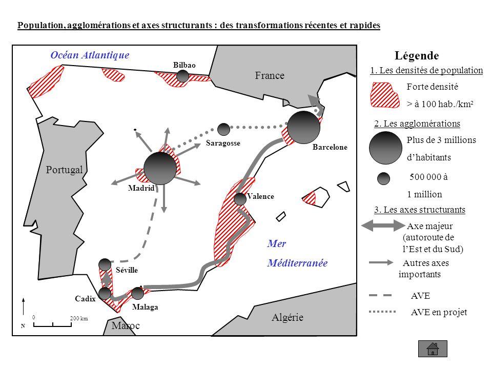 N 0 200 km Portugal France Algérie Maroc Mer Méditerranée Océan Atlantique Légende Population, agglomérations et axes structurants : des transformations récentes et rapides 1.