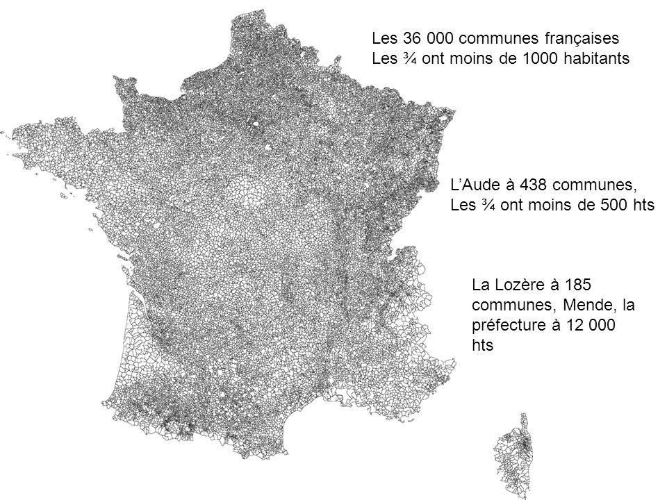 Les 36 000 communes françaises Les ¾ ont moins de 1000 habitants LAude à 438 communes, Les ¾ ont moins de 500 hts La Lozère à 185 communes, Mende, la