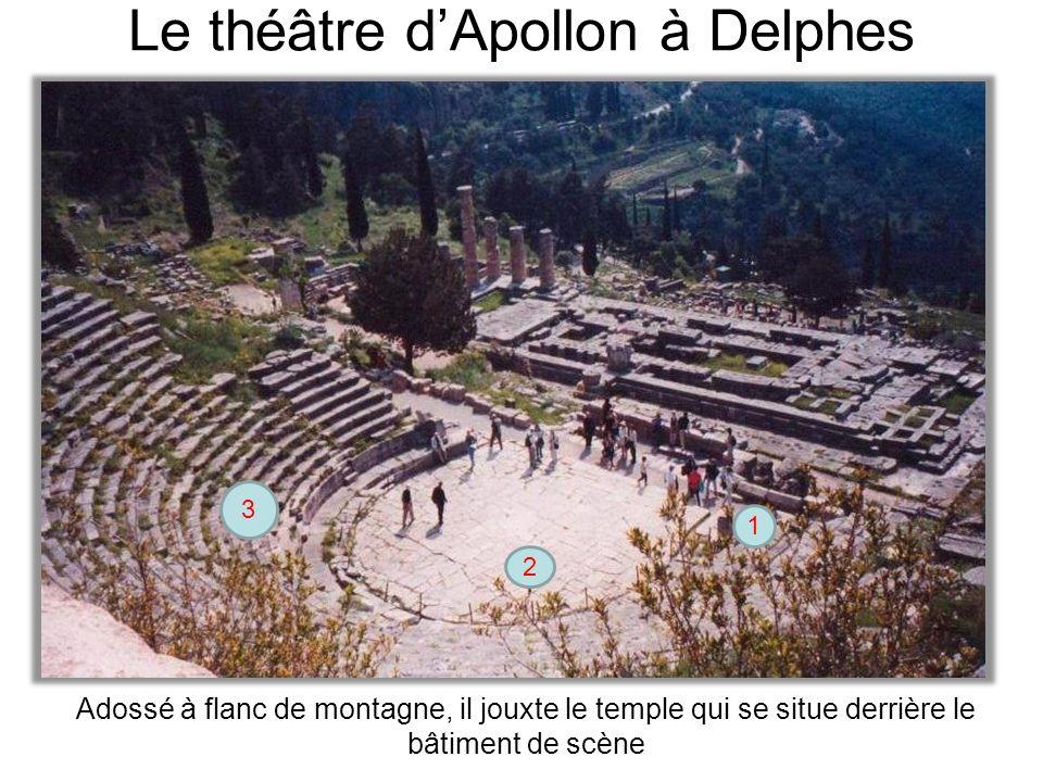 Le théâtre dApollon à Delphes 2 3 1 Adossé à flanc de montagne, il jouxte le temple qui se situe derrière le bâtiment de scène