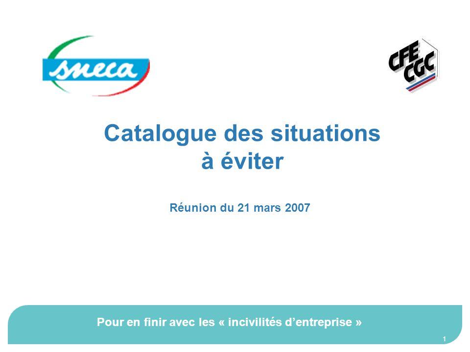 1 Catalogue des situations à éviter Réunion du 21 mars 2007 Pour en finir avec les « incivilités dentreprise »