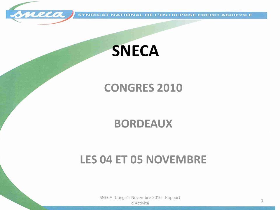 SNECA CONGRES 2010 BORDEAUX LES 04 ET 05 NOVEMBRE SNECA -Congrès Novembre 2010 - Rapport d'Activité 1