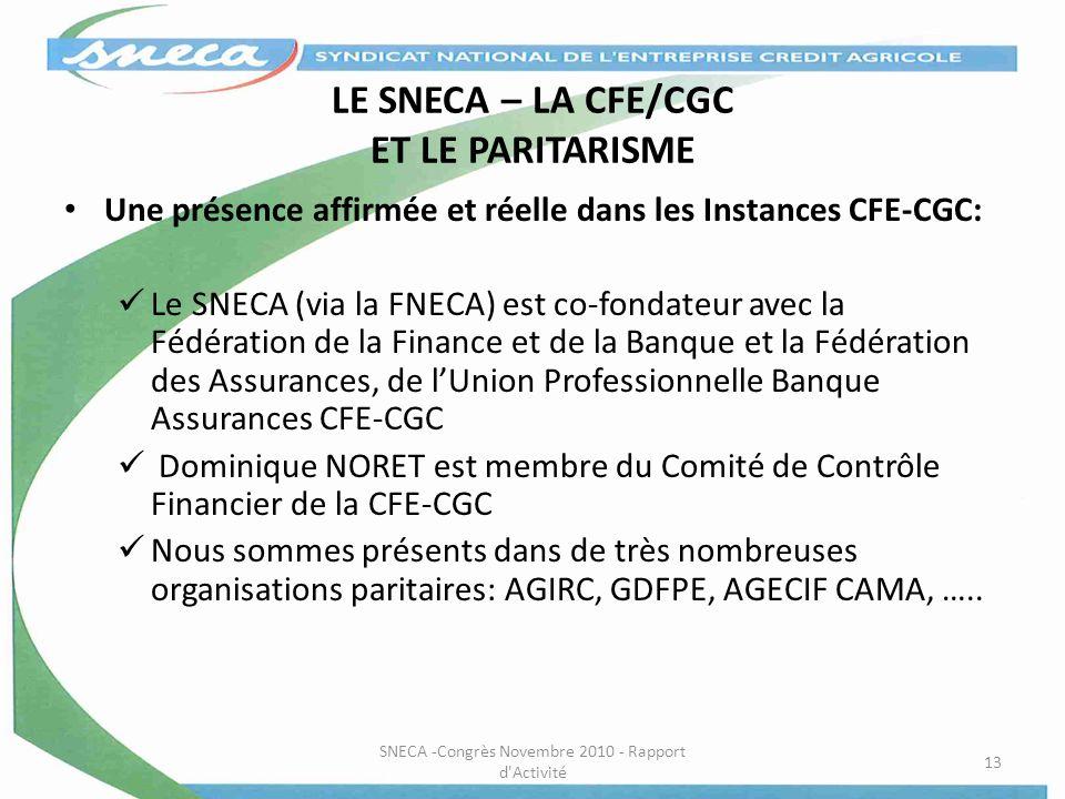 LE SNECA – LA CFE/CGC ET LE PARITARISME Une présence affirmée et réelle dans les Instances CFE-CGC: Le SNECA (via la FNECA) est co-fondateur avec la F