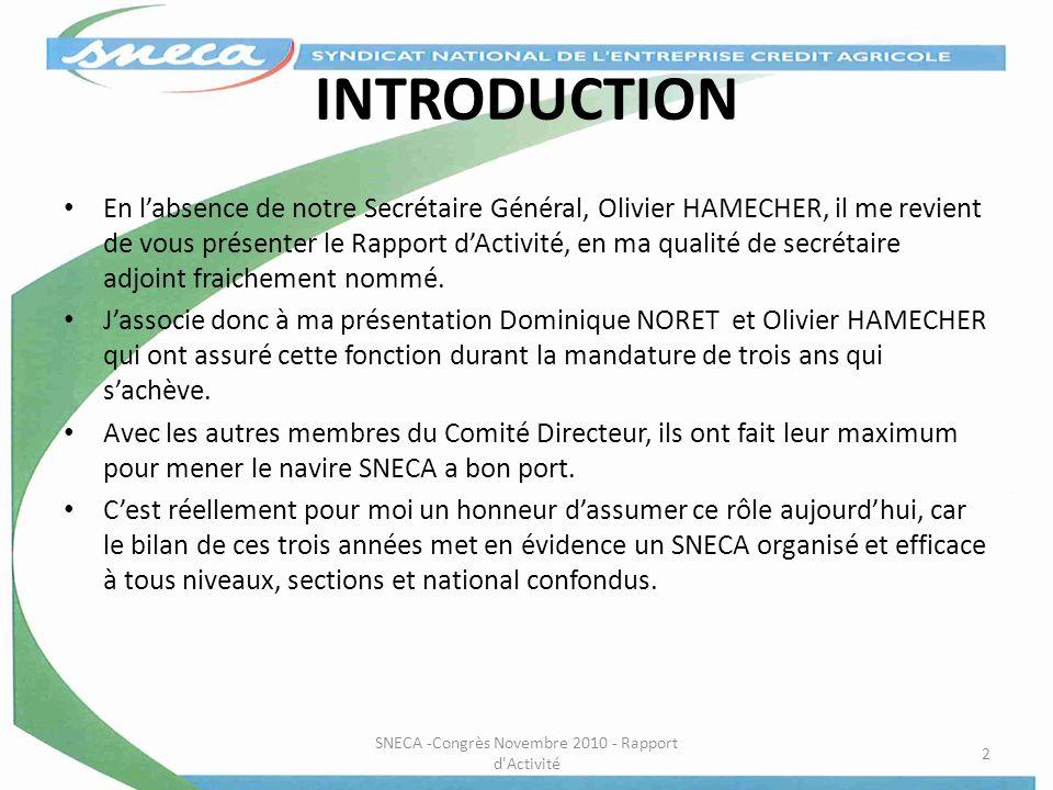 INTRODUCTION En labsence de notre Secrétaire Général, Olivier HAMECHER, il me revient de vous présenter le Rapport dActivité, en ma qualité de secréta