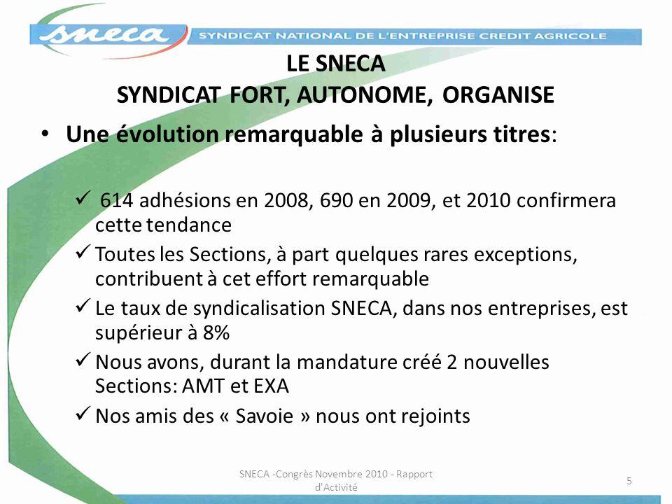 LE SNECA SYNDICAT FORT, AUTONOME, ORGANISE Une évolution remarquable à plusieurs titres: 614 adhésions en 2008, 690 en 2009, et 2010 confirmera cette
