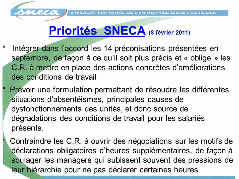 Priorités SNECA (8 février 2011) * Intégrer dans laccord les 14 préconisations présentées en septembre, de façon à ce quil soit plus précis et « oblig