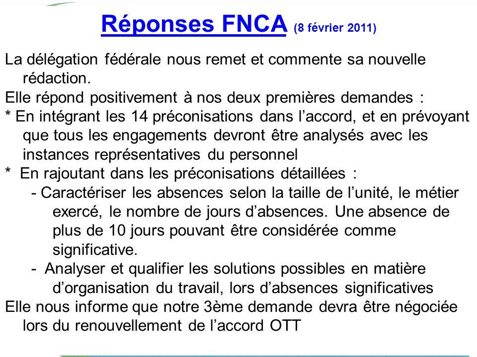 Réponses FNCA (8 février 2011) La délégation fédérale nous remet et commente sa nouvelle rédaction. Elle répond positivement à nos deux premières dema