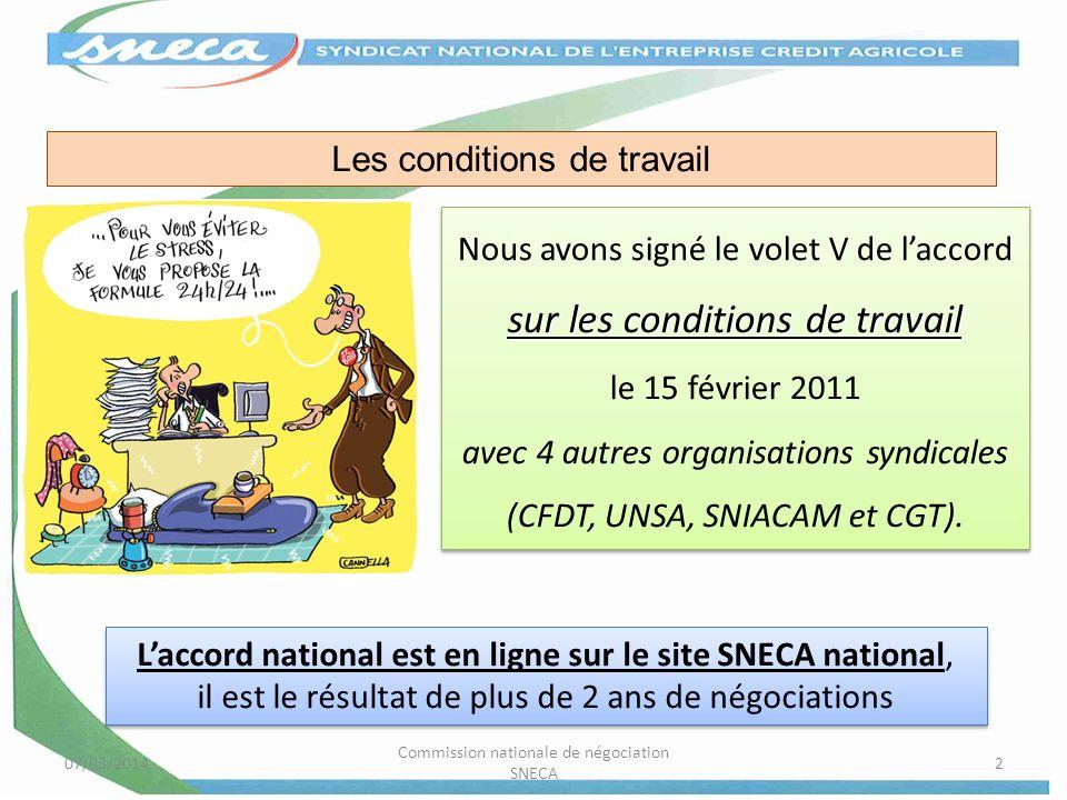 07/03/2014 Commission nationale de négociation SNECA 2 sur les conditions de travail Nous avons signé le volet V de laccord sur les conditions de trav