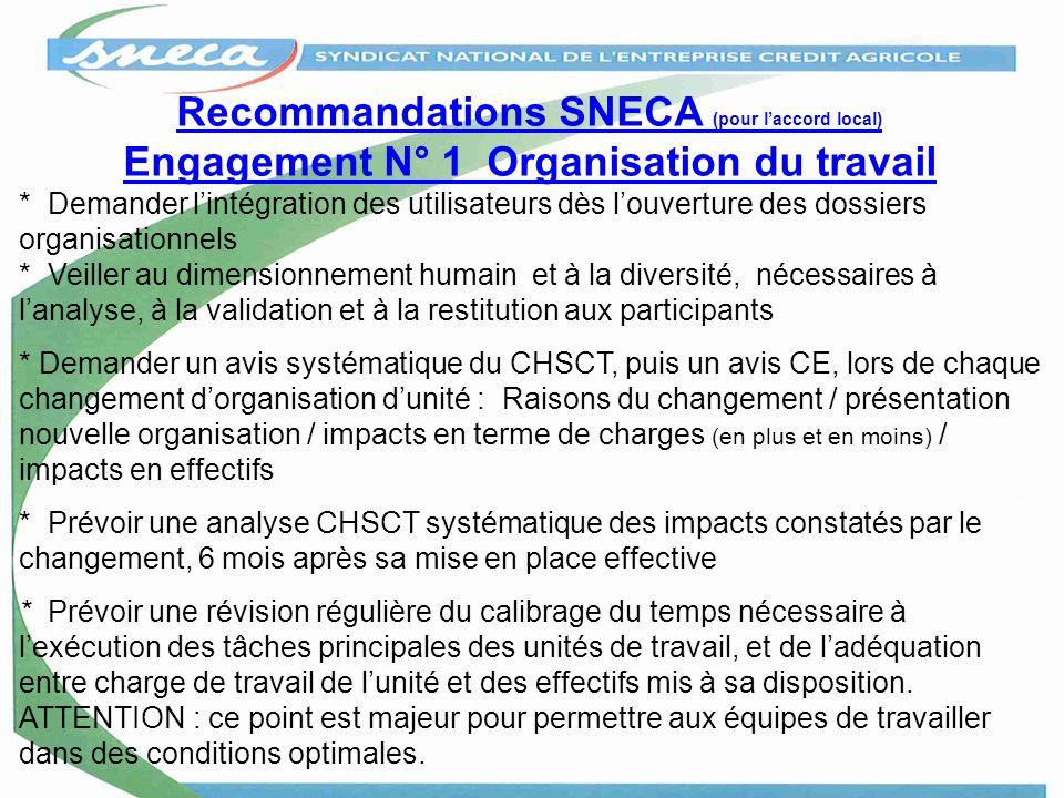 Recommandations SNECA (pour laccord local) Engagement N° 1 Organisation du travail * Demander lintégration des utilisateurs dès louverture des dossier