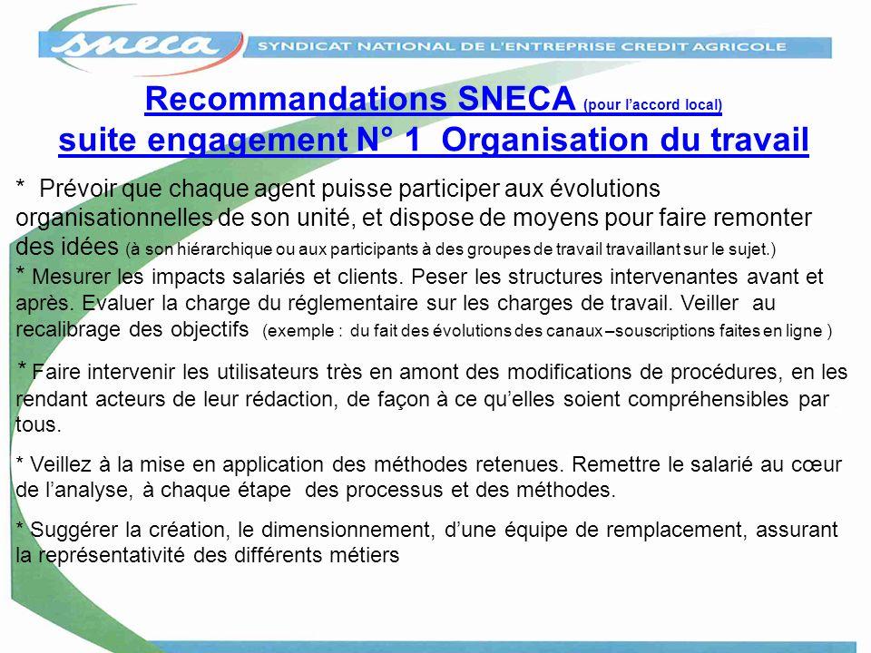 Recommandations SNECA (pour laccord local) suite engagement N° 1 Organisation du travail * Prévoir que chaque agent puisse participer aux évolutions o