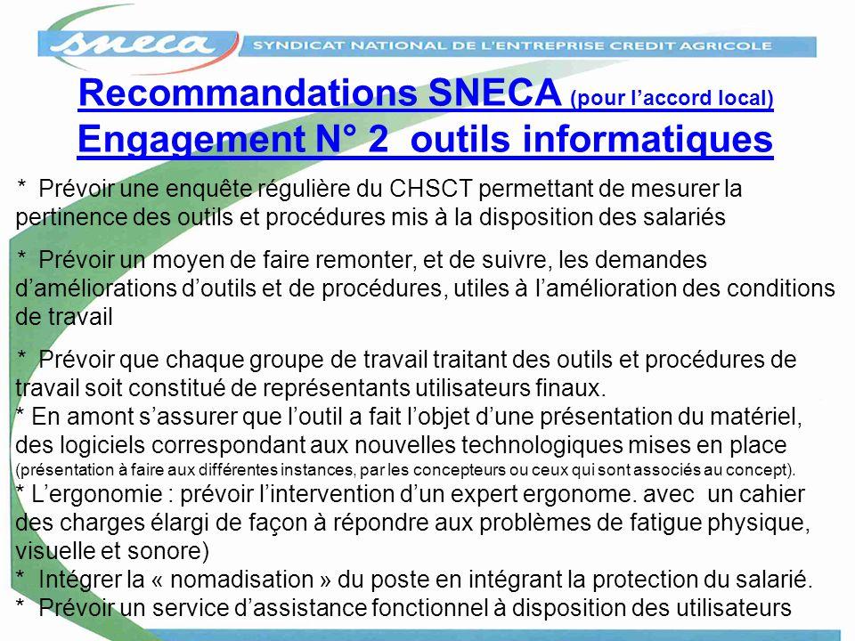 Recommandations SNECA (pour laccord local) Engagement N° 2 outils informatiques * Prévoir une enquête régulière du CHSCT permettant de mesurer la pert